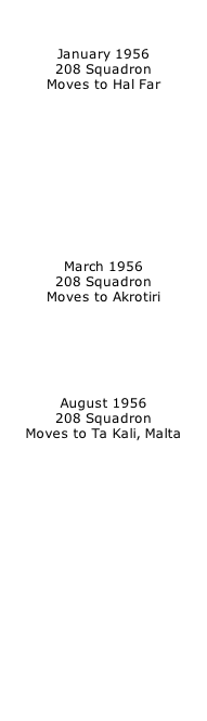 January 1956 208 Squadron Moves to Hal Far            March 1956 208 Squadron Moves to Akrotiri       August 1956 208 Squadron Moves to Ta Kali, Malta